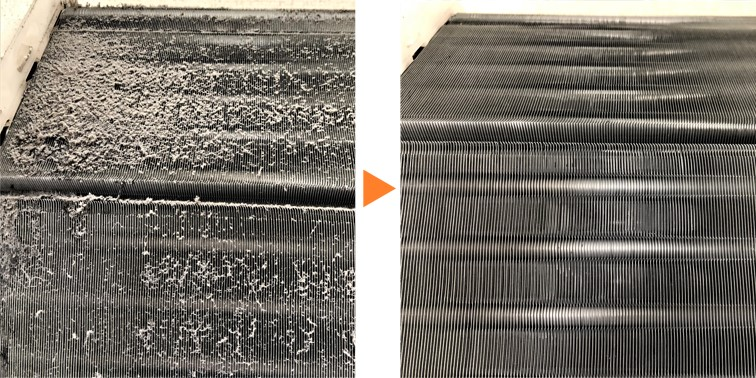 エアコンクリーニング/お掃除機能付き壁掛ACアルミフィン洗浄
