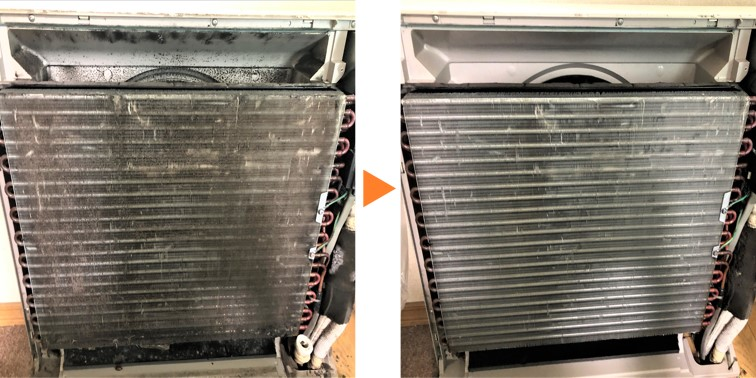 床置きエアコンクリーニング/アルミフィン分解高圧洗浄
