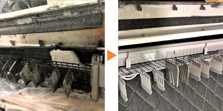 床置きエアコンクリーニング/上部吹き出し口&ドレンパン分解洗浄